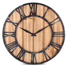 european vintage style wall clock round solid wood metal wall clock retro big art gear roman numerals design