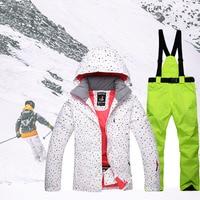 Для женщин зимние термальность Лыжный спорт куртка брюки для девочек непромокаемые сноуборд наборы ухода за кожей женский