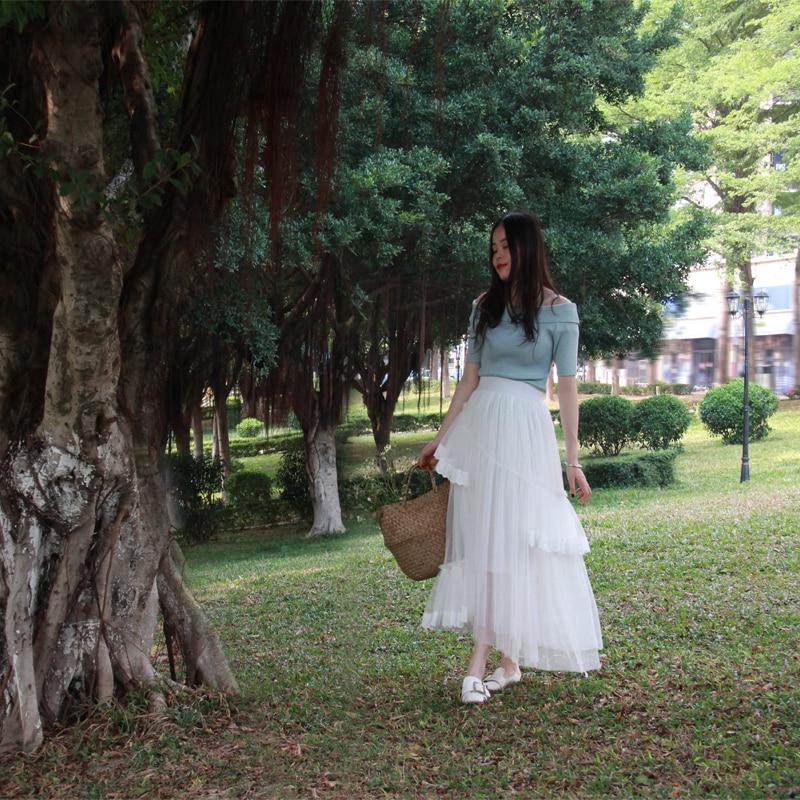 Gratis Para Cintura Falda Mujeres Las Moda Encaje De Nuevo Elástico Blanco Asimétrica 2019 Verano Maxi Guaze Faldas Estilo Envío dqZ4wzd