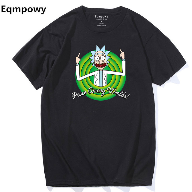 Cool Rick Morty men   t     shirt   2017 Summer Anime   T  -  shirts   rick and morty worlds folk black White Fitness Cartoon tee   shirt   homme