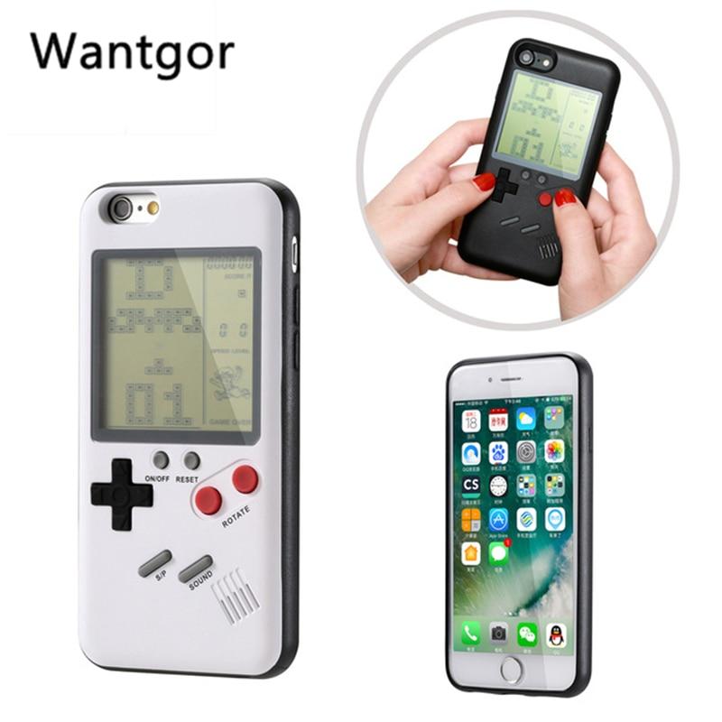 Retro tetris gameboy caso de telefone para apple iphone 7 8 mais macio tpu jogo menino escudo do telefone para iphone x 6s 8 mais capa coque