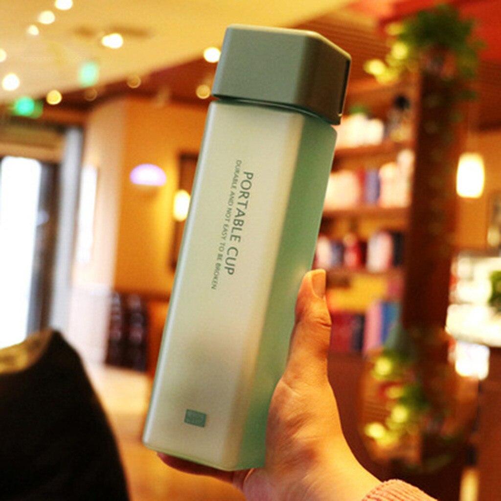 Portable Square Bottle Travel Bottle Wood Grain Lid Plastic Bottle Water Cup