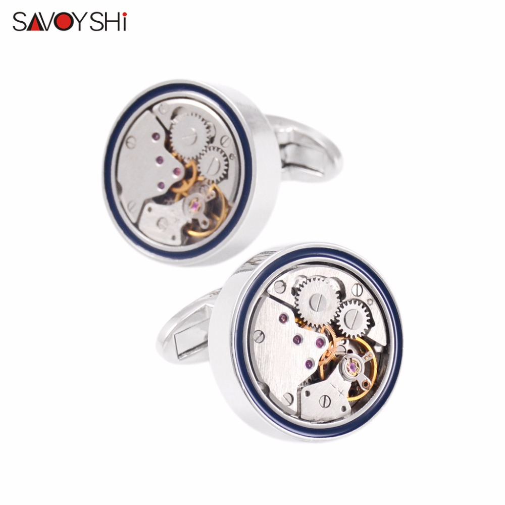 SAVOYSHI Fashion Mens Shirt Cufflinks High Quality Round Steampunk Watch Movement Business Cufflinks Silver Color Brand Jewelry