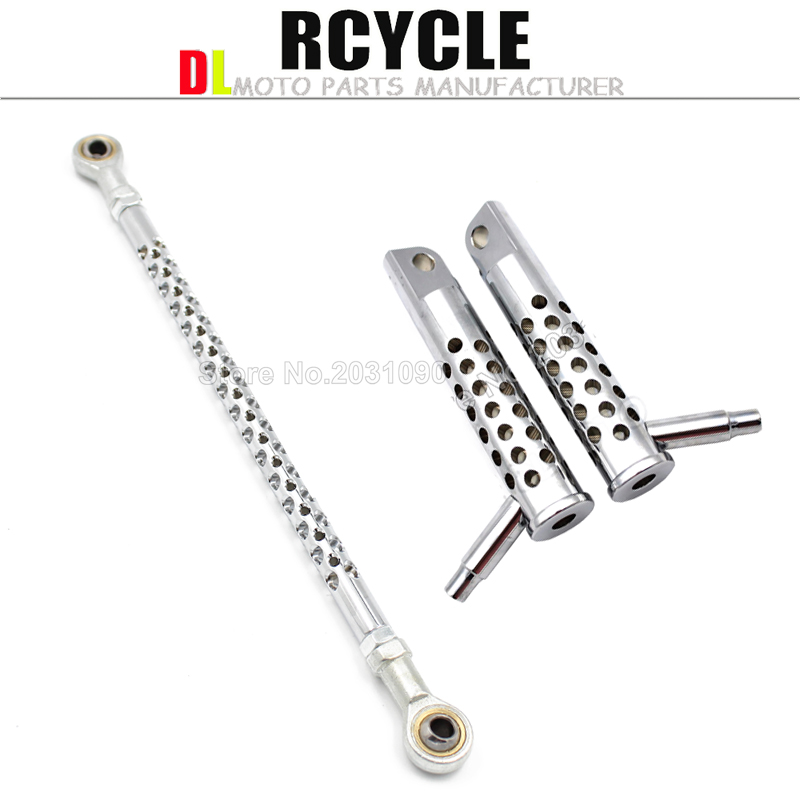 Chrome Round Shift Linkage Rod Shifter+Rear Footrest Foot