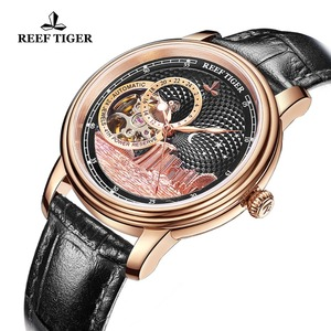 Image 3 - ساعة يد فاخرة للرجال ماركة ريف تايجر/RT تصميم كلاسيكي أوتوماتيكية ساعة يد من الياقوت والكريستال والذهبي الوردي RGA1739