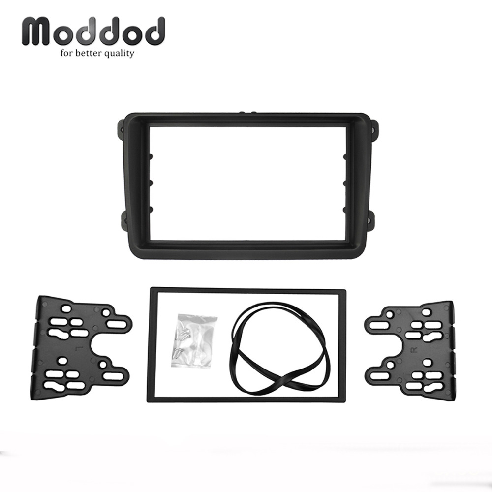Double Din Car Fascias For VW VOLKSWAGEN Touran Caddy SEAT SKODA Leon Fabia Octavia Stereo Radio Dash Kit  Frame Panel Adapter