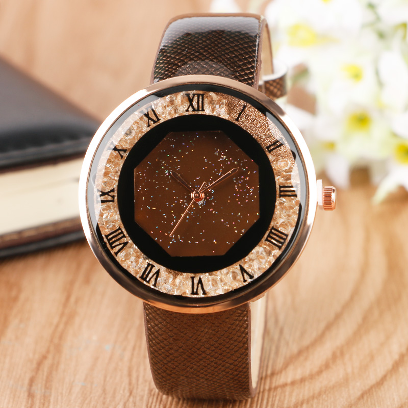 Elegant Blink Crystal Brown Leather Band Strap Women Wrist Watch Creative Ladies Dress Fashion Casual Luxury Girls Watches Gift fashion dress watch elegant crystal dial red faux leather band strap blink quartz analog casual lady women wrist watch stylish