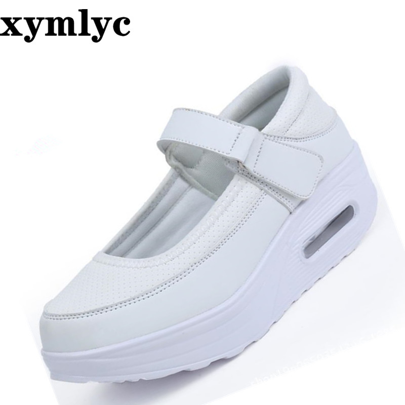 2019 new solid color round head female sneakers mesh breathable casual shallow mouth thickening Non-slip nurse flat shoes(China)