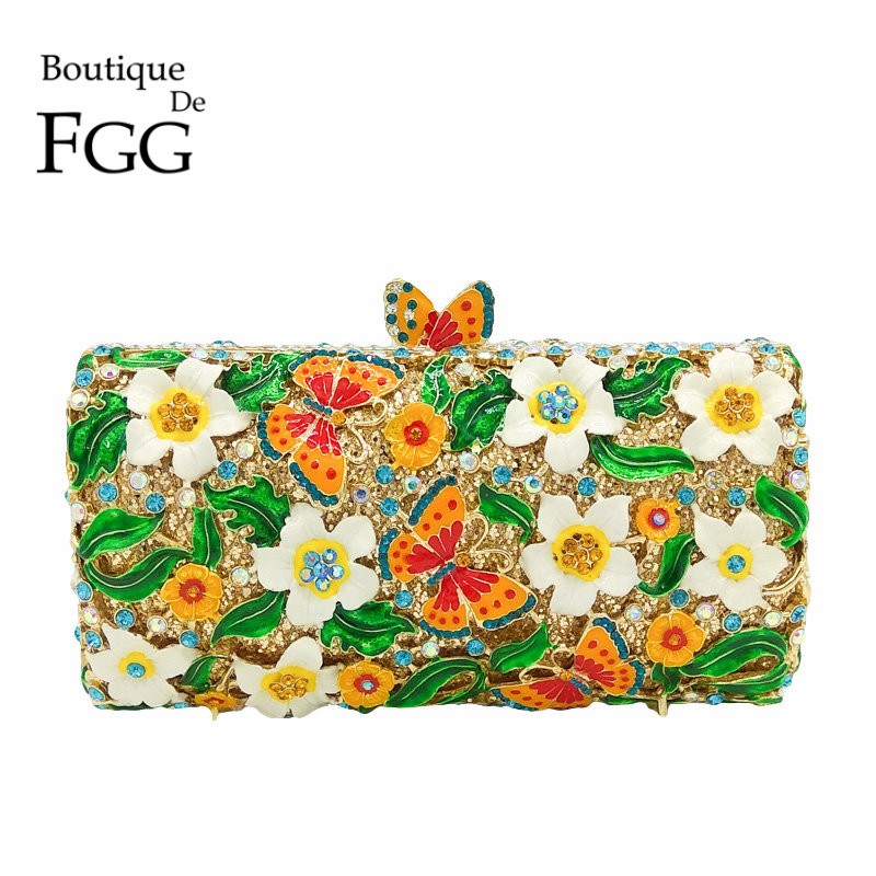 Boutique De FGG Hollow Out Multi Flowers Butterfly Women Crystal Clutch Evening Bag Diamond Minaudiere Handbag