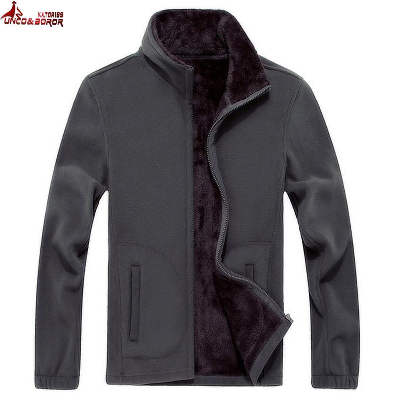 UNCO&BOROR Mens Softshell Fleece Casual Jackets Men Warm Sweatshirt Thermal Coats fleece Tactical bomber jacket size XL~8XL