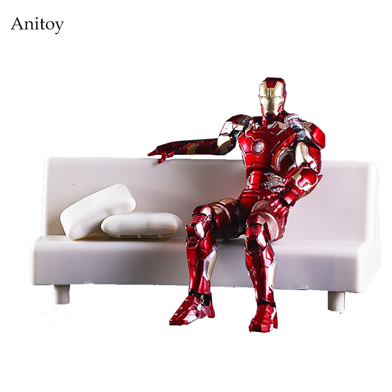 SHFiguarts Iron Man Mark 43 with Sofa PVC Action Figure Collectible Model Toy 15.5cm KT2614