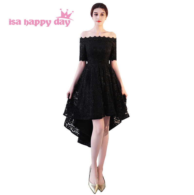 Formal Prom High Low Dresses Short Dress For Girl Winter Dress Black Lace Low Back With Sleeves To Wear To A Occasion H4226