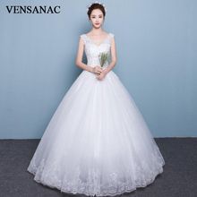 VENSANAC 2018 V Neck Sequined Ball Gown Tulle Wedding Dresses Elegant Lace Appliques Tank Backless Bridal Gowns