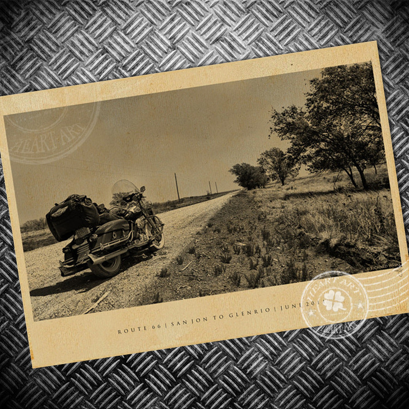 ᐂVintage poster Motorfiets Route 66 Oude foto schilderen Retro ...
