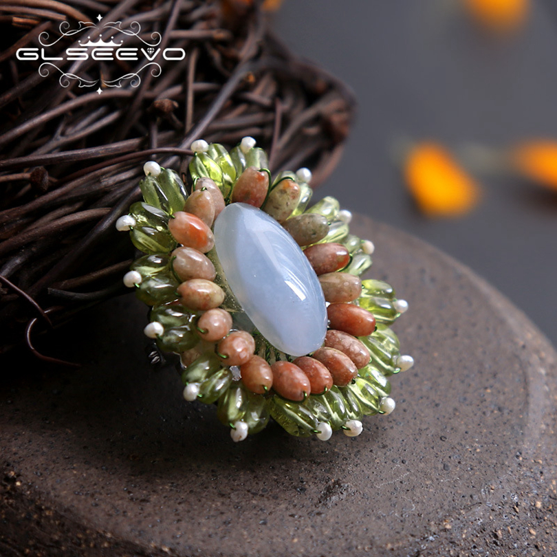 GLSSEEVO Natual Blue Chalcedony Peridot Vintage Brooch Jewelry Chic Birthday Gift Brooch For Women Shirt Collar Dual Use GO0148