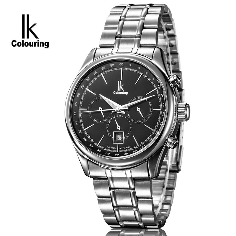 2017 IK Brand Men Watches Steel Tourbillon Clock Men Automatic Watch Skeleton Military Watch Mechanical Relogio Male Erkek Saat стоимость