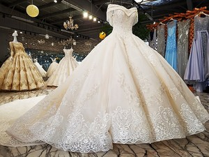 Image 3 - LS54110 2020 Luxury wedding dress sweetheart  ball gown lace up  ivory and champagne bridal wedding gowns long train as photos
