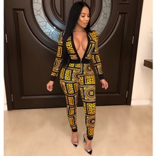 a361415a2c Bonnie Forest Vintage Chic Geometrical Print Black Gold Skinny Jumpsuit Sexy  Deep V Neck One-