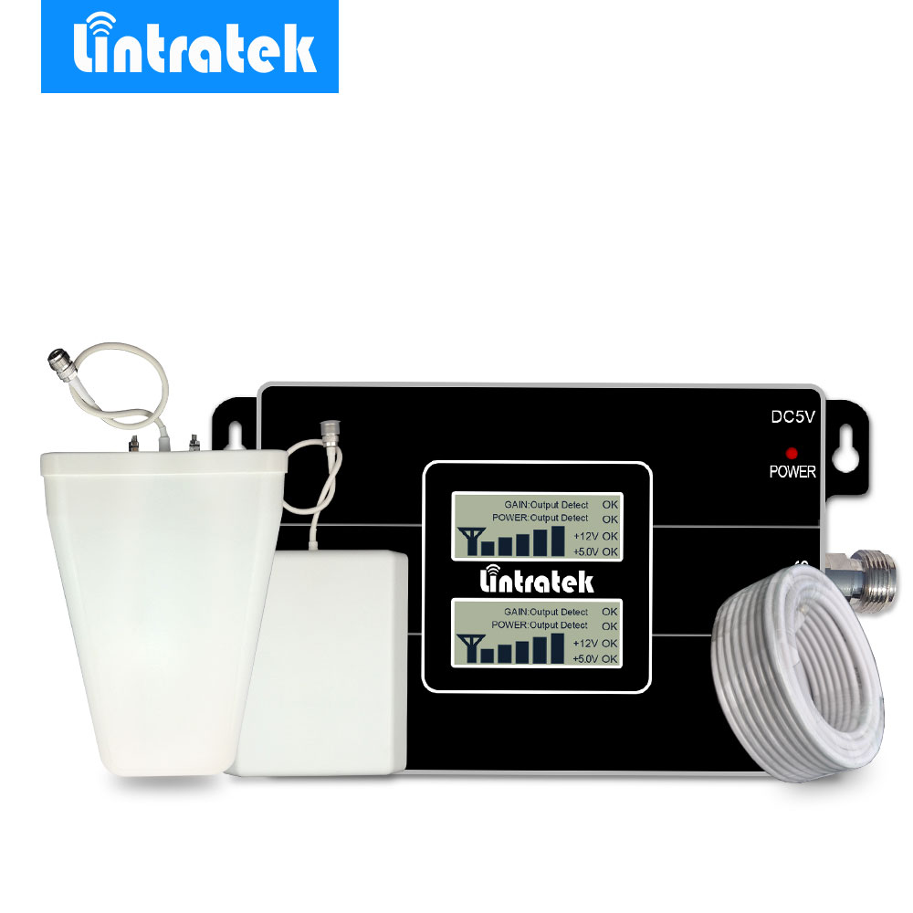 Lintratek Nuevo LCD amplificador de señal GSM 900 MHz 3G UMTS 2100 MHz celular amplificador de señal de teléfono repetidor para MTS... MegaFon... directo a Tele2