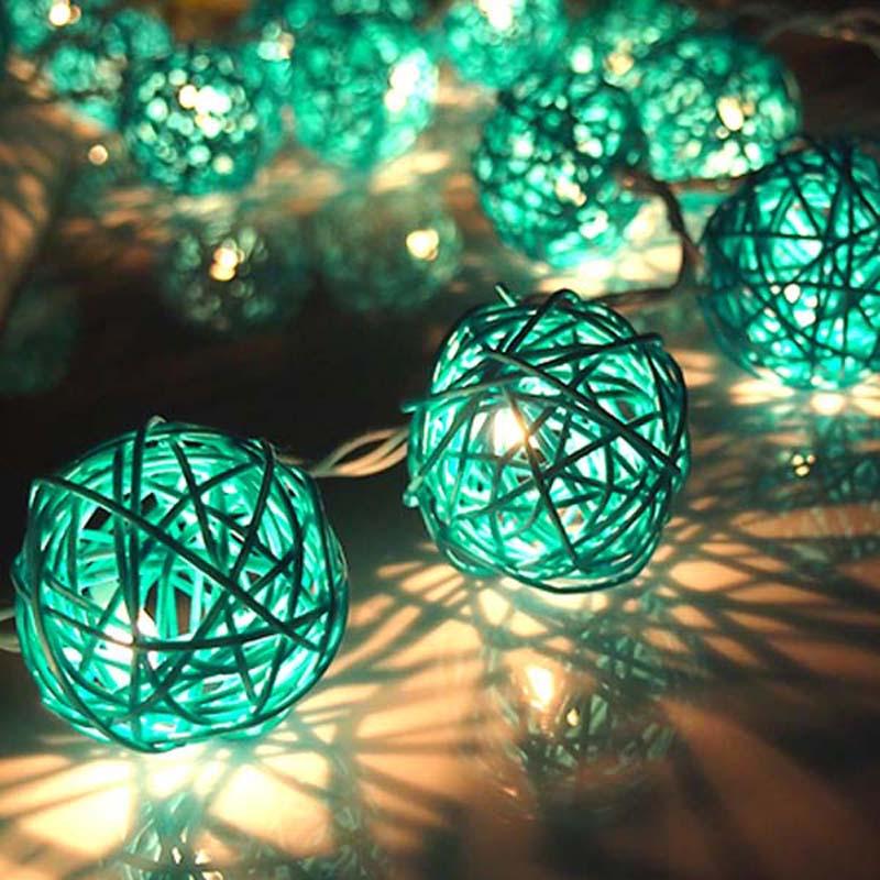 Ambitious Ac/battery Led Christmas Outdoor String Light 20 Sky Blue Rattan Balls Wedding Fairy Holiday Garden Room Decor Garland Light Lights & Lighting