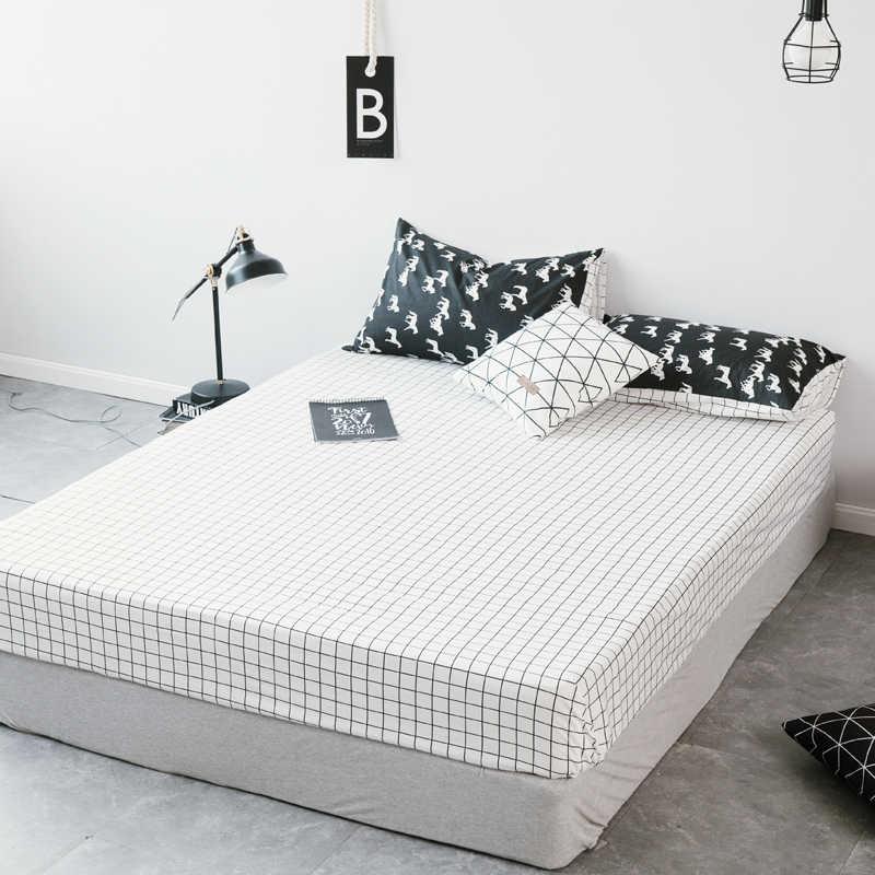 1 шт. 100% хлопок черный и белый установлены простыни матраса четыре углы с эластичной лентой кровать простыни