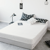 1pcs 100%Cotton Black & white Fitted Sheet Mattress Cover Four Corners With Elastic Band Bed Sheet