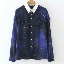acd9efcf6081a الربيع نجوم كوكبة المرأة بلوزة طويلة الأكمام الشيفون قميص الكونية الفضاء  غالاكسي طباعة الكشكشة قميص عارضة قمم blusa 2018