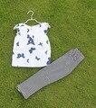 Юмор Медведь дети комплект одежды футболка + брюки цветы набор детей новорожденных девочек одежда детей набор