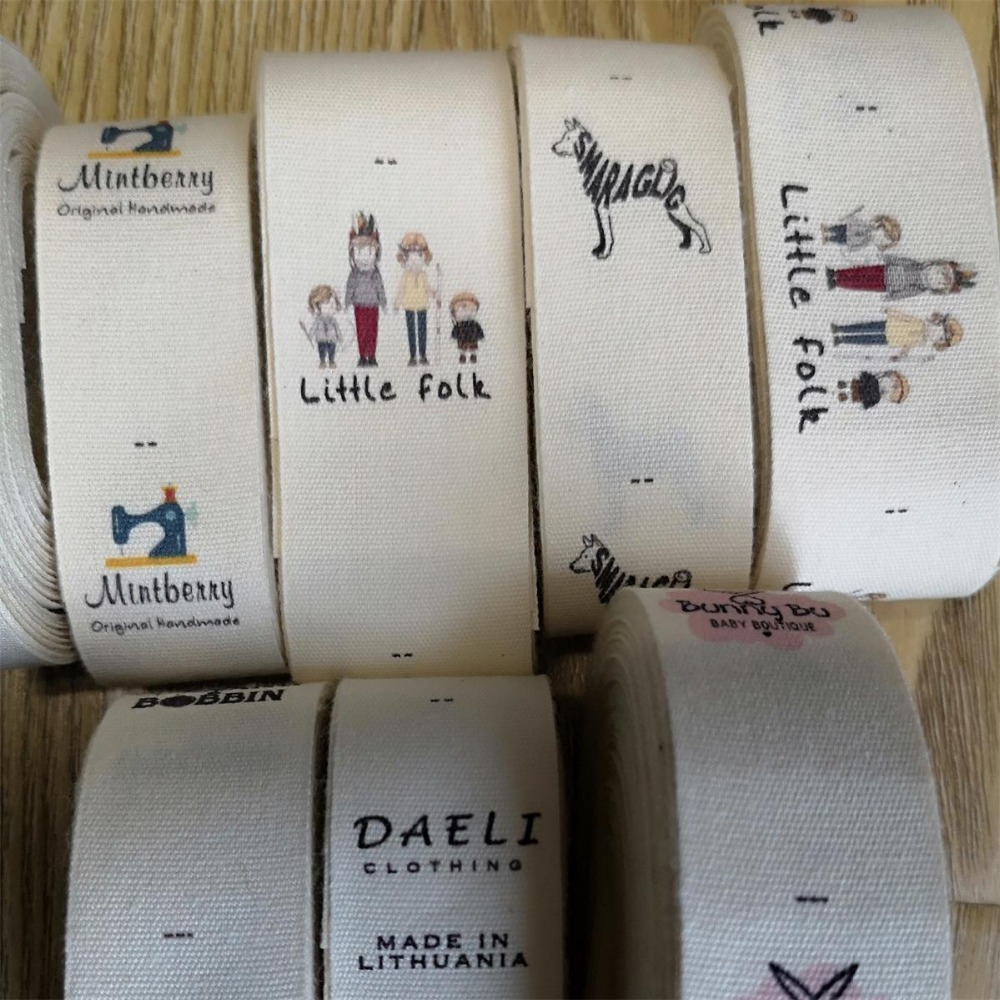 3 5cm 4CM width raw off white cotton Sewing Labels children Clothing Name Tags Handmade labels print color logo cotton label in Garment Labels from Home Garden