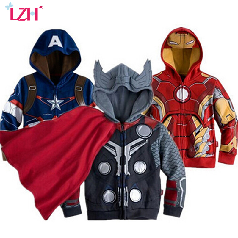 LZH 2018 Spring Autumn Boys Jacket For Boys Spiderman Avengers Iron Man Hooded Jacket Kids Warm