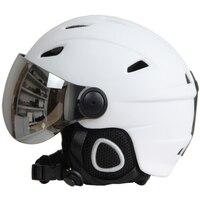 Полупокрытый лыжный шлем с очками козырек шлем для сноуборда Зимний снег Санки скутер шлем маска мото снегоход Capacete