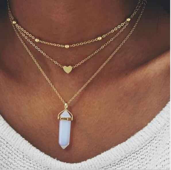 Tenande ボヘミアン天然石ビーズ鳩星の心葉模擬パールネックレス & ペンダント女性のマルチレイヤーのジュエリー