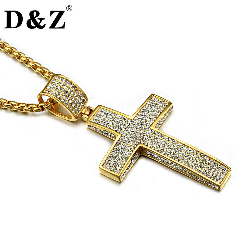лучшая цена D&Z Religion Gold Color Iced Out Cross Necklace Paving CZ Stainless Steel Cross Crucifix Necklaces & Pendants Christian Jewelry