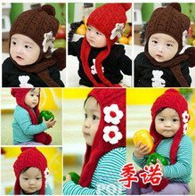 Flowers Knitted baby hats,two earmuffs wool hats/earmuffs scarf winter hats,baby cap #2C2512 10 pcs/lot (3 COLORS)