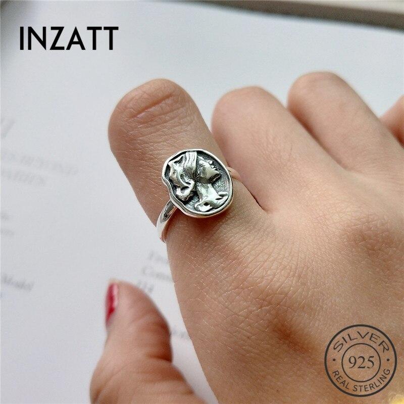 INZATT Pure 925 Sterling Silver Vintage Portrait Openwork Ring Irregular Round Ring For Female 2018 Fashion Jewelry Accessories