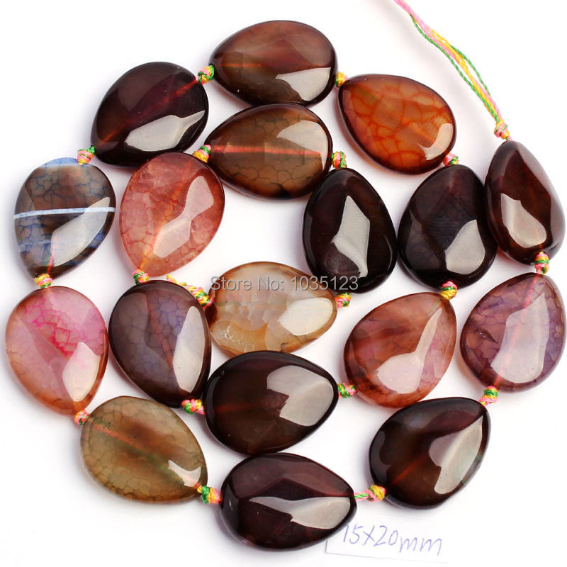 Free Shipping 15x20mm Natural Faceted Cracked Multicolor Agates Drop Shape DIY Loose Beads Strand 15 Jewellery Making w15