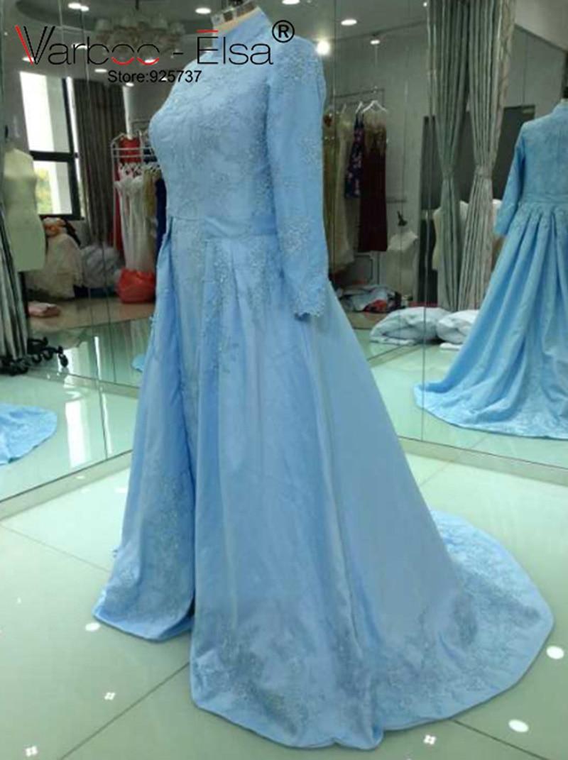 varboo_elsa 2018 mutter der braut kleid hellblau satin elegante abendkleid  lange Ärmel spitze appliques kleid benutzerdefinierte