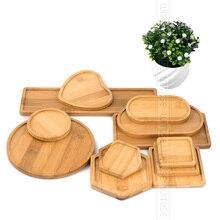 WITUSE 12 Estilo Flor Caixas de Pires de Cerâmica Suculentas Plantador de Vasos de Plantas de Bambu Stand Desktop Geometria Vitrificada Vaso de Bambu Bandeja