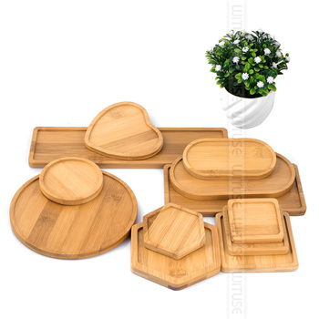 Wituse 12 estilo caixas de flores pires cerâmica suculenta plantador vasos planta bambu suporte mesa geometria vitrificada vaso bandeja de bambu