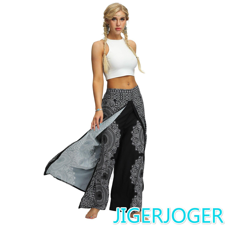 JIGERJOGER Black Round Mandala Side Open PALAZZO PANTs Thai Bohemia Wide Leg Pants Beach Fitness Gym Pants Women Streetwear