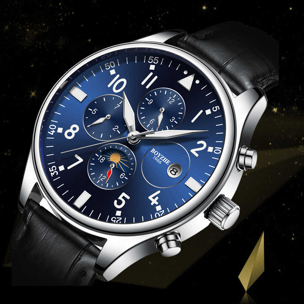 BOYZHE Роскошные брендовые Мужские автоматические механические часы модные повседневные кожаные лунные фазы светящиеся спортивные часы relogio masculino