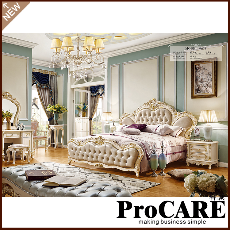 Classic King Size Bedroom Set/ European Style hot sell rose luxury bedroom furniture 2016 hot sell classic 100