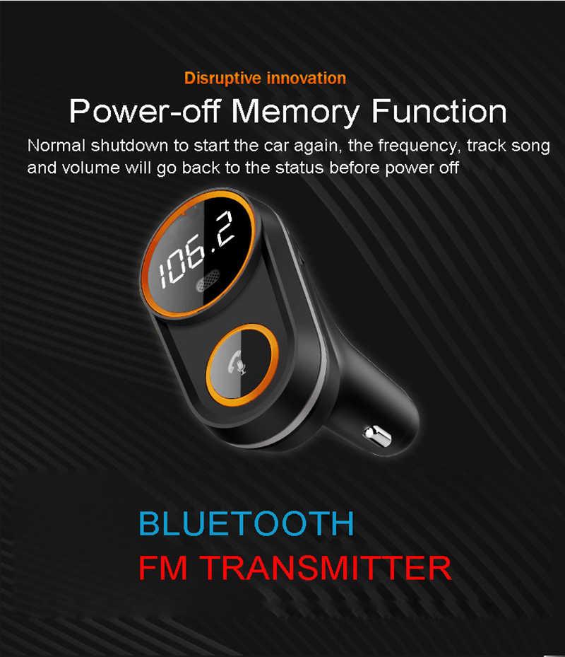 JINSERTA التصميم اكسسوارات السيارات بلوتوث سيارة مشغل MP3 اللاسلكية FM الارسال محول راديو FM TF USB شاحن سريع