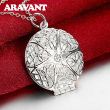 925 Jewelry Round Photo Frame Pendants Long Necklaces For Women Fashion Wedding Silver Plated Top Quality Jewelry Gifts(China)