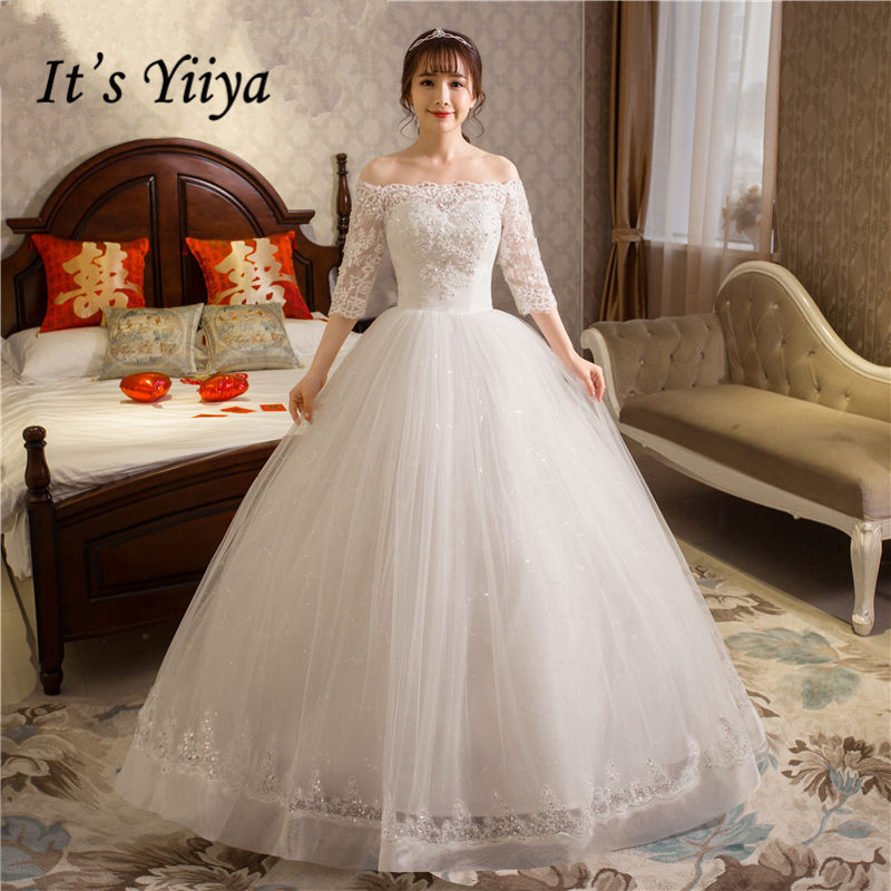 It's YiiYa Wedding Dress Boat Neck Half Sleeve Floor Length White Wedding Ball Gown Lace Crystal Fashion Bridal Dresses HS251
