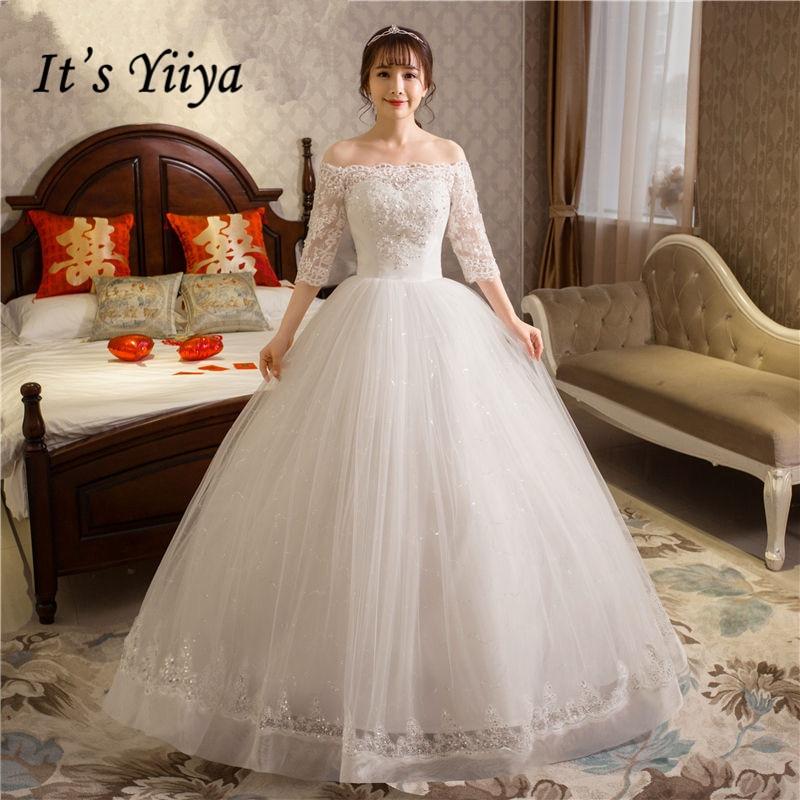 It's YiiYa Wedding Dress Boat Neck Half Sleeve Floor Length White Wedding Ball Gown Lace Crystal Fashion Bridal Dresses HS251