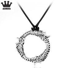 Juego The Elder Scrolls V collar redondo colgantes plata oro dragón cuerda cadena collares Vintage mujeres hombres joyería de moda