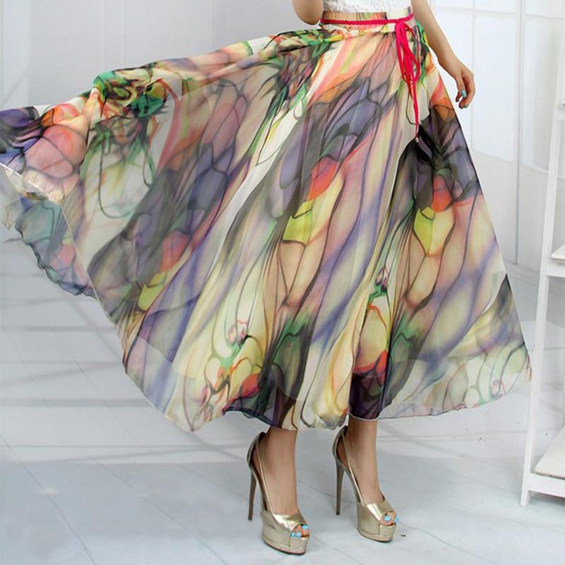 Online Buy Wholesale long full skirt silk chiffon skirt from China ...