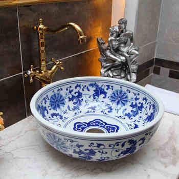 Niebieski i biały chiny malowanie umywalka do mycia łazienki łazienka umywalki licznik top kolor art umywalka ceramiczna umywalki łazienkowe tanie i dobre opinie JINGYILE ROUND Blat umywalki Szampon umywalki Ręcznie malowane Ociekaczem Jeden otwór as show picture porcelain L420*W420*H160mm