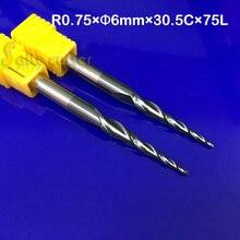 2 stks R0.75 * D6 * 30.5 * 75L * 2F vhm 6mm Bal Neus Taps Frezen frezen cnc router taper hout metalen frees